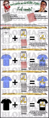 papel transfer premium ropa tela oscura estampado textil x10