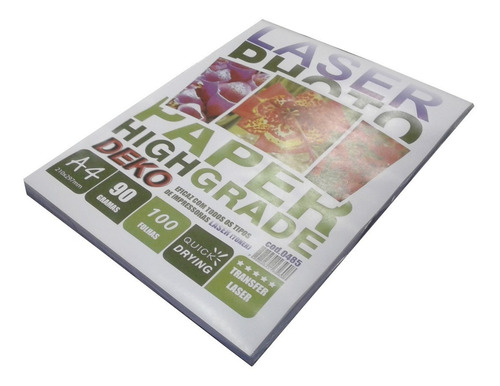 papel transfer rigido a4 90g 100 folha para impressora laser