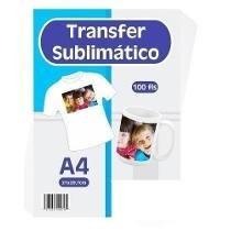 papel transfer sublimático a4 c/100 folhas p/ sublimação