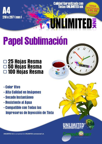papel transfer tejido claro, 1 hoja a4 tintas unlimited ink