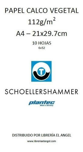 papel vegetal a4 calco 60gr 10 hoj schoellershammer plantec