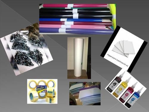 papel-vinil textil-pedrería en sublimacion