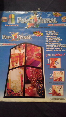papel vitral - 6 láminas de colores