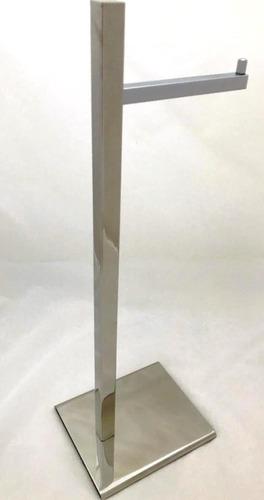 papeleira de chão quadrada 4025 simples inox polido 304