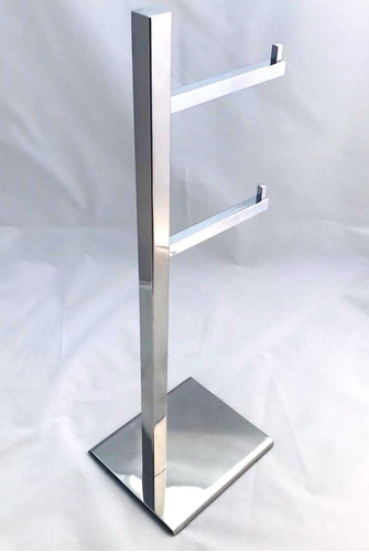 papeleira de chão quadrada com reserva dupla inox - 4026