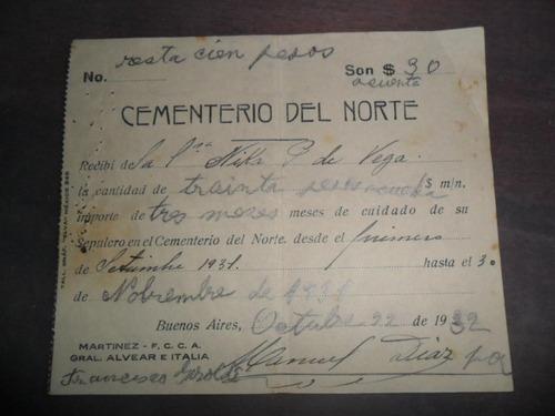 papeleria 1932 cementerio del norte martinez fcca  entierro
