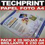 Papel Fotografico A4 Brillante 230 Gr X 20 Hojas Especial