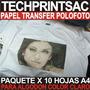 Papel Transfer 120 Gr A4 Pack 10 - Polofoto Algodon Claro