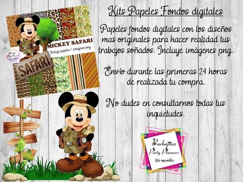 papeles fondos digitales mickey safari - kit imprimibles