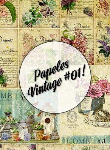 papeles vintage #01!  lámina decoupage autoadhesiva 30 x 42