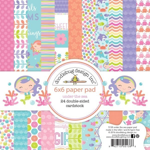 paper pad 6x6 doodlebug papeles scrapbook under the sea
