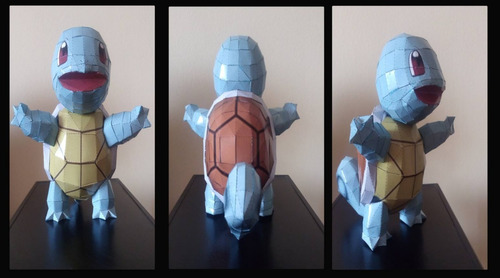 papercraft  pokemon red y squirtle anime modelismo
