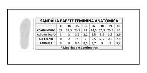 papete feminina palmilha couro sandália conforto anatômica