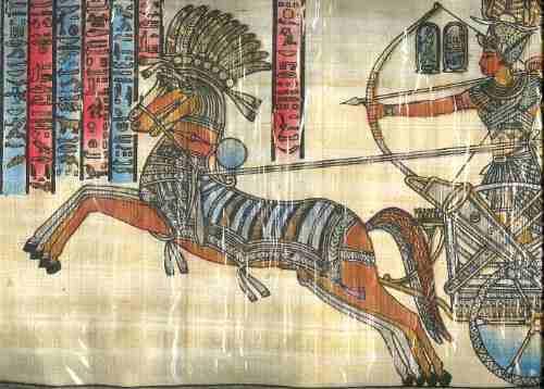 papiro egipcio ramses en batalla  nuevo