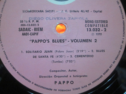pappo blues - vol.2 primera edicion 1972 - disco vinilo lp