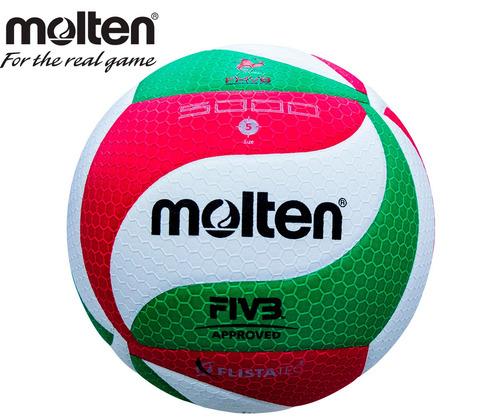 51b942782d4f9 Paq. 10 Balones Voleibol Molten 5000 Piel Sintetica Tricolor ...