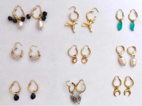 super popular 12a65 d8564 Paq 4 Pares Aretes Arracadas Piercing Chapa De Oro