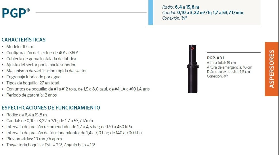 Aspersores de riego Hunter PGP ULTRA 6,4 a 15,8 mts ángulo ajustable Variantes