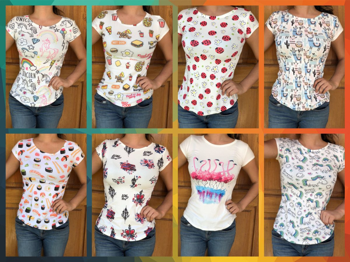 af96f9e71 Paquete 10 Blusas Para Dama Sublimadas Diseños -   570.00 en Mercado ...