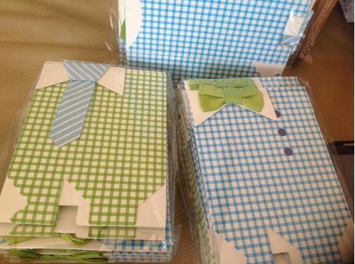 paquete 10 cajitas/dulcero baby shower niño little man