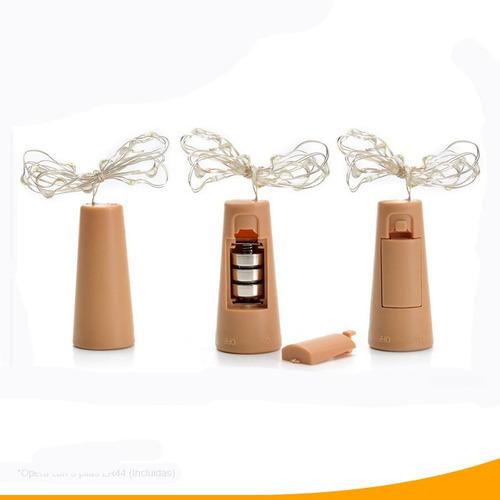 paquete 10 corchos led alambre luminosos 2m 20 luces oferta