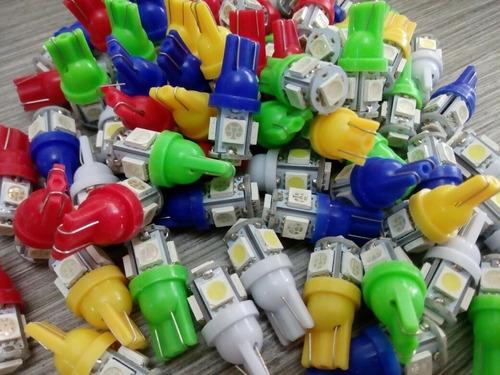 paquete 10 led t10 w5w pellizco 5 colores 5050 .