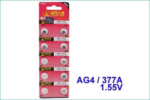 paquete 10 pilas alcalinas ag4 / 377a para reloj juguete