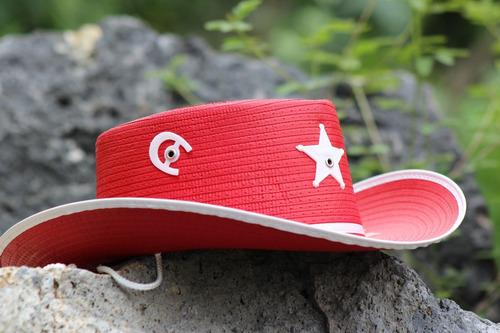 paquete 10 sombrero vaquero rojo cafe sherrif niño fiesta