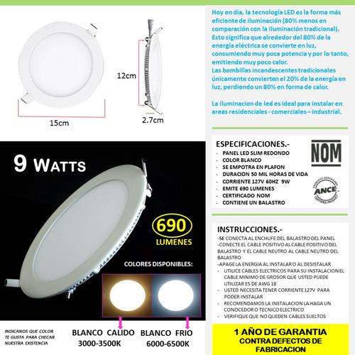 paquete 10 spot panel led 9w luces para casas oficinas