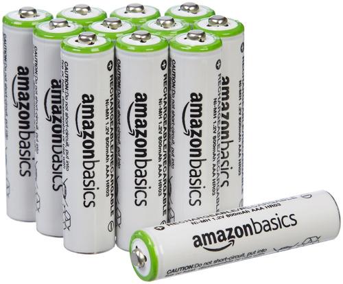 paquete 12 baterías recargables aaa de amazonbasics