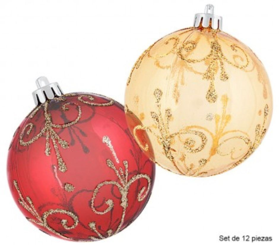 Paquete 12 Esferas 8 Navideñas Decoradas Rojo Dorado 172690