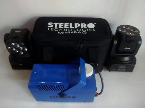 paquete 2 cabezas moviles +funda+ maquina de humo 500 watts