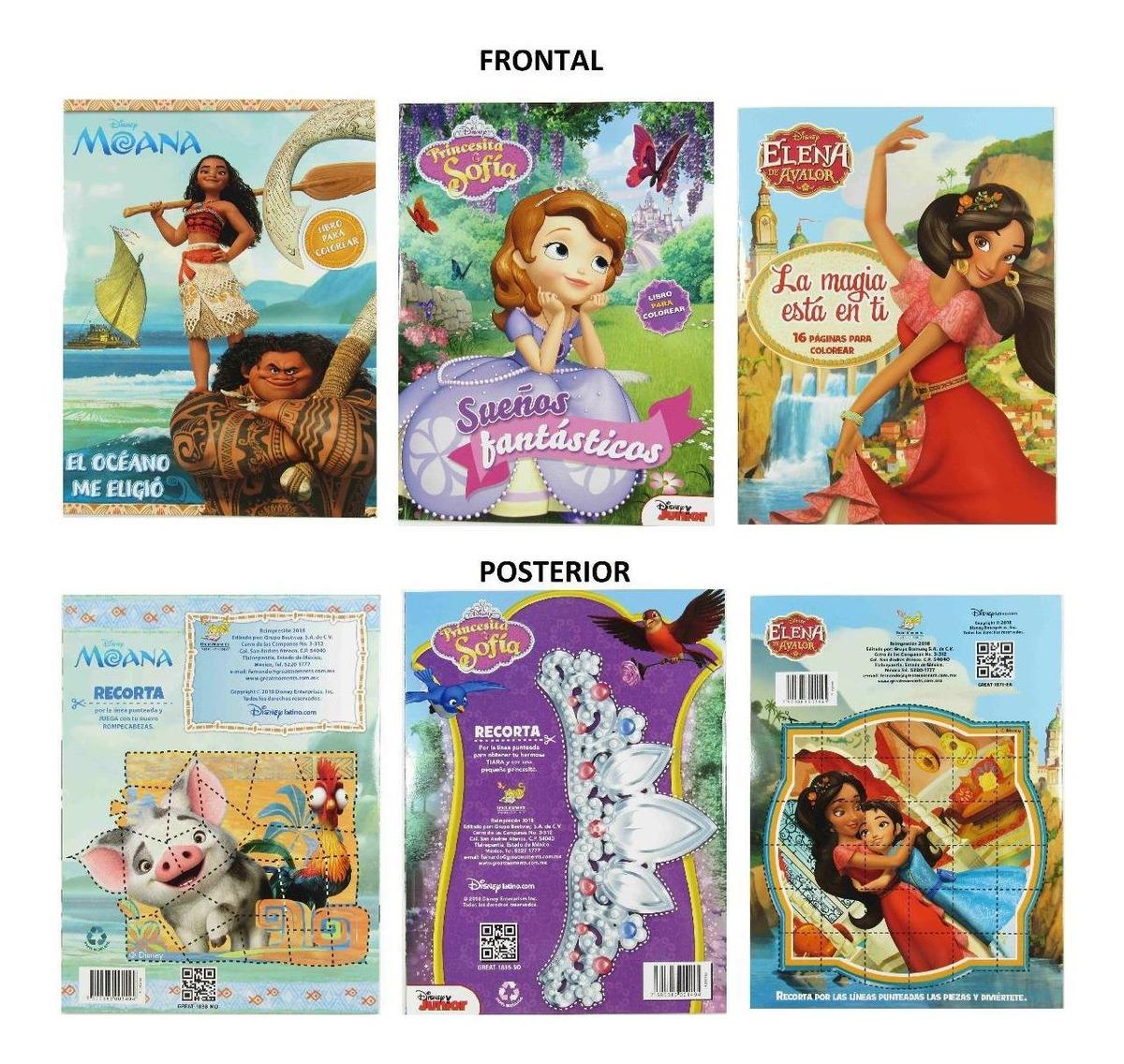 Paquete 25 Libros Para Colorear Princesas Elena Moana Sofia