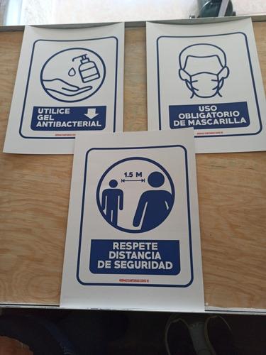 paquete 3 letreros sana distancia , uso de gel y mascarilla