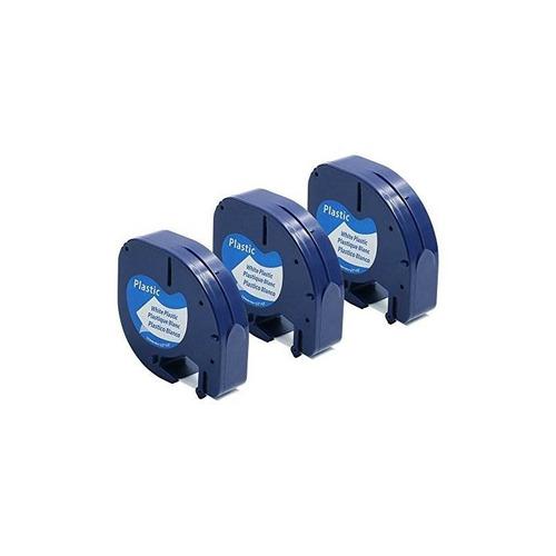 paquete 3 replicas dymo letratag compatibles con negro sobre