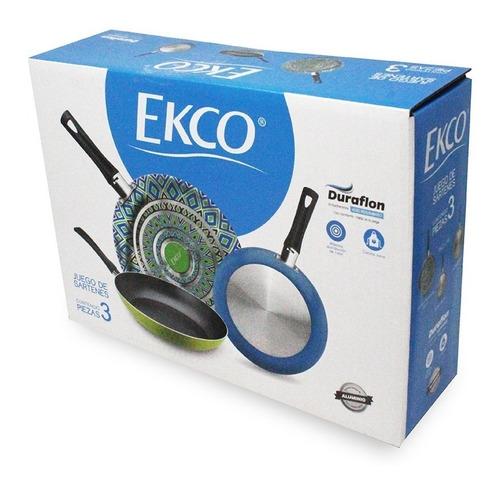 paquete 3 sártenes con antiadherente de 18/20/24 photopaint verde y azul ekco 81188