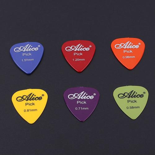 paquete 30 puas guitarra plumillas colores alice 6 grosores