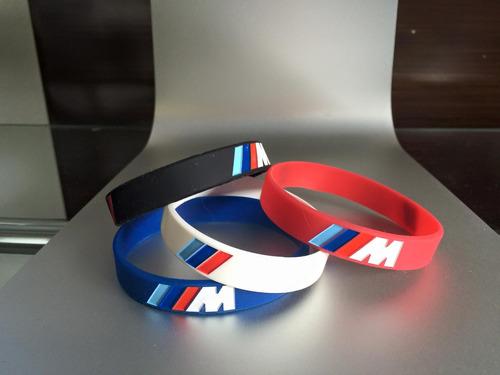 paquete 4 pulseras bmw m de silicon - envio gratis