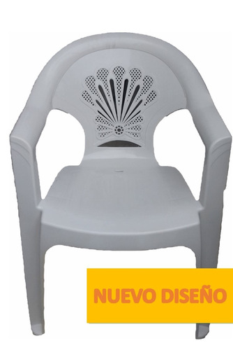 paquete 4 sillas apilable plastica blanca 3 kilos resist