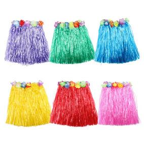 e1e2ab52c Paquete 5 Falda + 5 Collar Hawaiano Flores Disfraz Niña