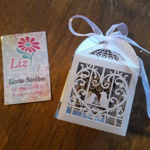 paquete 50 cajitas plateadas recuerdo boda xv bautizo jaula