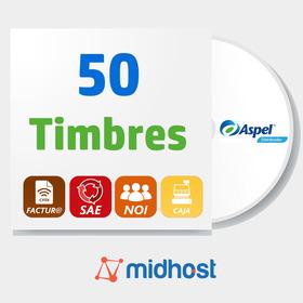 Paquete 50 Timbres Para Sistemas Aspel Sae, Facture, Caja