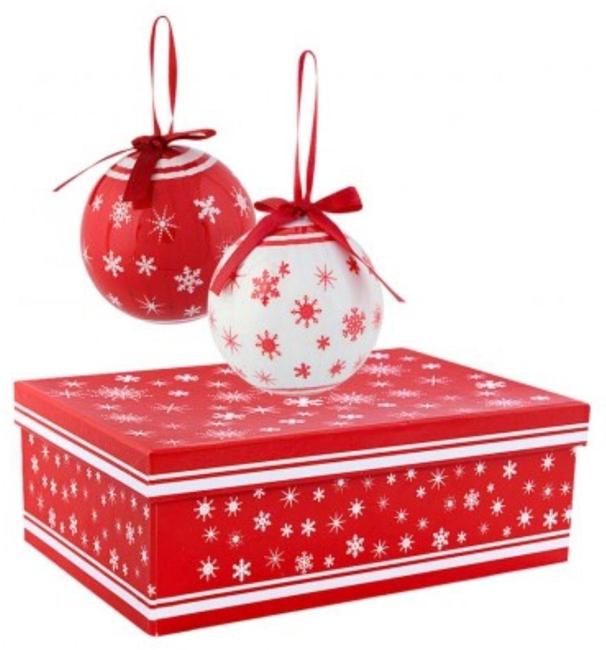 Paquete 6 Esferas Navideñas Decoradas Blanco Con Rojo 172688