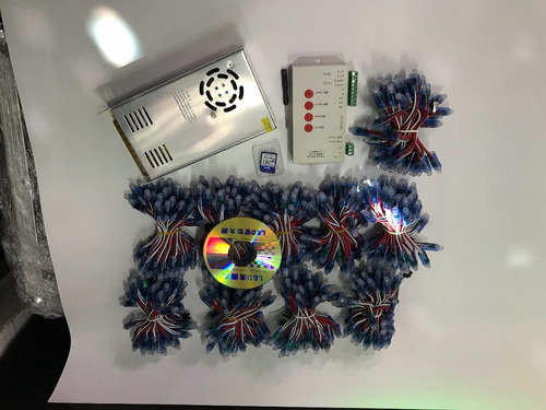 paquete 600 leds pixel + controlador t1000 + fuente 70amp 5v