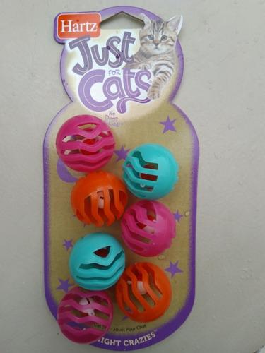 paquete 7 pelotas con cascabel juguete para gato hartz