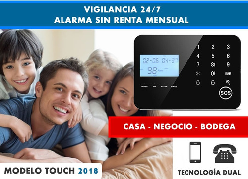 paquete alarma touch gsm para casa negocio inalambrica 18s