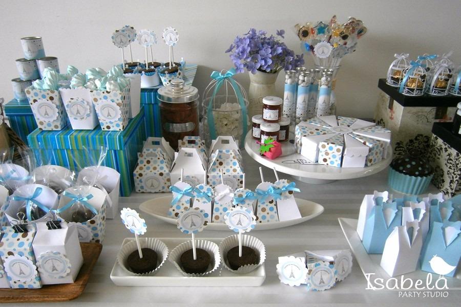 Paquete cajitas mesa de dulces bautizos baby shower 99 for Como decorar mesa de postres para baby shower