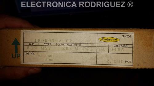 paquete capacitores rubycon japoneses 2.2uf 50v 2000 piezas