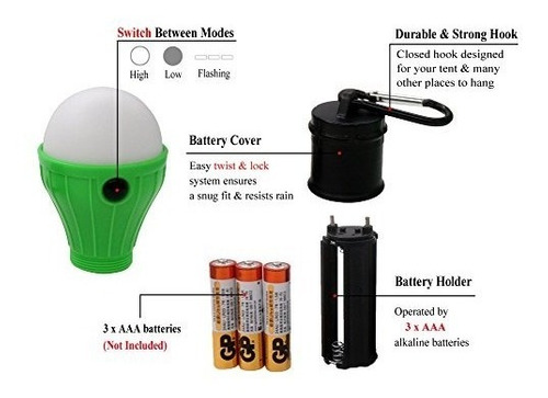 paquete coideal de 4 luces led para tienda de campaña lámpar