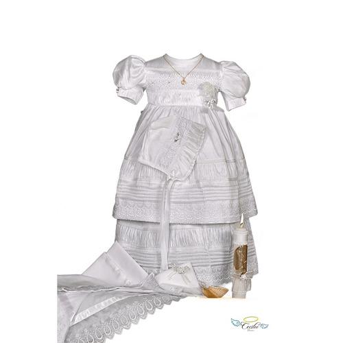 paquete completo ropon de bautizo de lujo para niña alforza